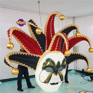 Inflatable Balloon Jester Inflatables Carnival Masks Jolly With LED Strip and Blower for Commedia dell'Arte Masks Decoration