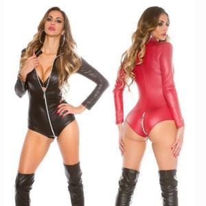 Sexy Wetlook Bodysuit Mulheres Latex Catsuit Faux Leather Macacão manga comprida Zipper Crotch Fetish Costumes Suit Corpo Erótico XXXL Q1117