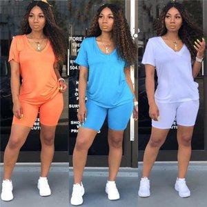 2PCS Set Women Sports Suit Neon Top Short Pants 2020 New Workout Clothes Tracksuit Fashion Summer Outfit Ladies Casual Women Set