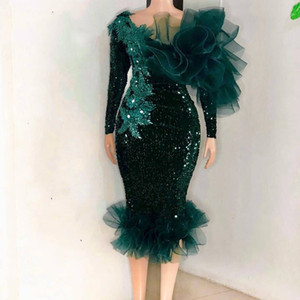 Elegant Dark Hunter Sheath Cocktail Dresses Short Knee Length Glitter Sequined Appliques Lace Ruffles Prom Party Dress Women Evening Wear