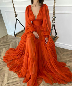 Beautiful Tulle Prom Dresses V Neck Custom Made Long Sleeves Party Gowns Cheap Special Occasion Dresses