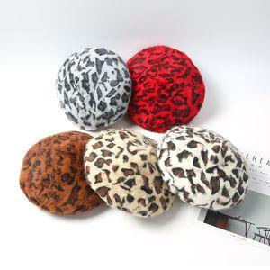 Tree&Sea Women Fuzzy Hair beret hat Leopard Berets Warm berets Cozy furry Animal Printed Hair Hats