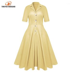 Donne Vintage A-Line Chic Camicia Abiti Giallo Button Skinny Traspirante Elegante stile retrò Prom Girls Girls Girls Dress1