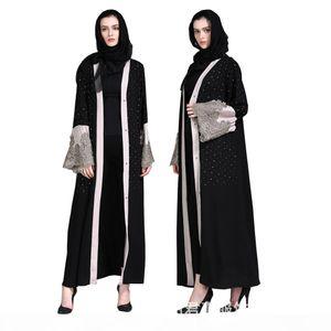 Muslim Women Cardigan Abaya Diamond Embroidery Turkish Dress Contrast Color Dubai Kaftan Middle East Robes Islamic Clothing Jalabiya