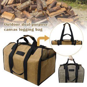 2in1 Waterproof Waxed Canvas Firewood Log Carry Bag Durable Storage Bag Outdoor WHShopping