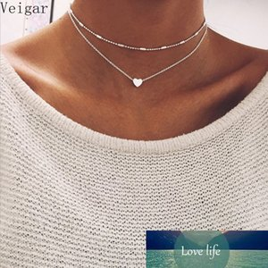 Fashion Silver Color Double Layer Choker Necklace Women Love Heart Pendant Charm Necklace Collar Accessories Jewelry