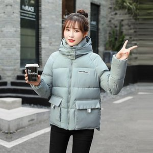 Fashion Thick Warm Short Hooded Parka 2020 New Letter Pocket Decoration Winter Jacket Women Casual Solid Color Parka Coat