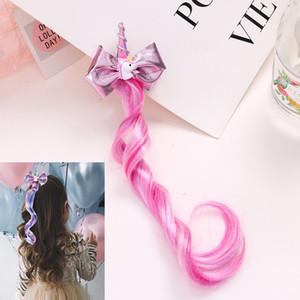 Princess Girl Unicorn Bowknot Barrettes BAMBINI BAMBINI TRENDY LUNGO DESTIGLINER Designer Torcineria 3 Style Carino Accessori per capelli bambini
