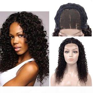 180% dichte brasilianische kinky lockige menschliche haarverschluss perücken 10-24 cm lockige spitze front 4x4 spitze schließung perücken für schwarze frauen natürliche farbe