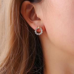 Simple Princess Crown Full Crystal Round Stud Earrings Temperament Women Stud Earrings Jewelry Accessories Trendy 1 Pair