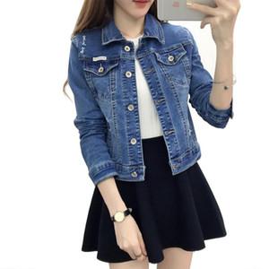 Frauen Vintage Denim Jacke Mode Einreiher ausgefranst Löcher Taschen Lässige Jeans Mäntel Mode Kurze Jacken Slim Fit Herbst Oberbekleidung