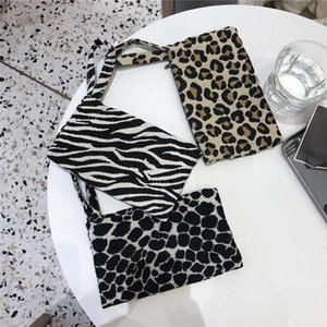 Mobile phone bag wallet cloth art hand carry small cloth bag fashion black and white leopard print simple leisure jacquard cloth bag