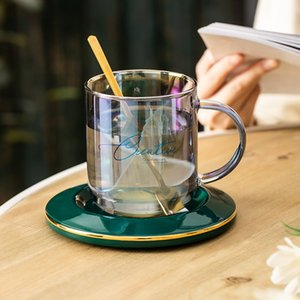 Creative Colorful glass coffee mug wine Cocktail whiskey Glass tea cup and saucer sets Transparent shot glasses tumbler cups Y1124