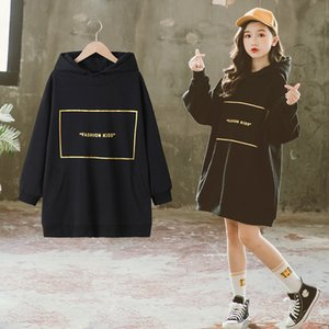 New Arrival Teen Girls Hoodies Dress Black Loose Pullover Coat Autumn Letter Print Children Dress Hoodie Fashion Kids Clothes Z1127