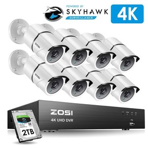 Zosi 4K 8CH Ultra HD CCTV نظام الكاميرا H.265 + DVR كيت مع 2 تيرابايت HDD 8PCS 8MP TVI Outdoor Outdoor Home Security System System LJ201205