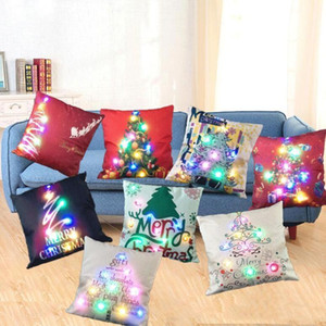LED Pillow Case Cover Luminous Linen Pillow Covers Light Cushion Cover Office Nap Christmas Pillow Case Home Sofa Car Decoration DHF1357