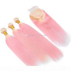 OMBRE два цвета # 613 блондинка розовые волосы уток уток с кружевной закрытием розовые шелковистые прямые 3 связки девственные волосы волосы с закрытием