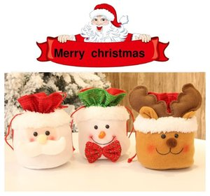 Merry Christmas Storage Bag Candy Bags Linen Drawstring Kids Gift Pack Decoration Xmas Gift Bag T10I42