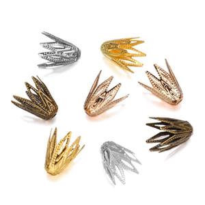 100pcs lot 810 mm Gold Filigree Cols Casquettes End Perle Crise Hollow Out Fleur Pour bricolage Bracelet Boucles d'oreilles Bijoux Fournitures H QLLSNP