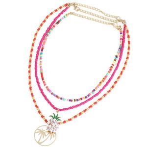 3pcs Bohemian Bead Collana Collana Pineapple Star Handmade Colorato Colorato Collana Boho Ciondolo Bigiotteria Accessori