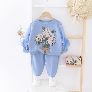 2020 Spring New Children's Clothing Fashion Girl Out 2pcs Coat +pant Cartoon Set Baby Cotton Clothes Suit