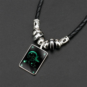 Glow In the Dark 12 constellation Necklace Sign Necklaces fashion jewelry women mens necklaces will and sandy new