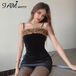 Leopardo pluma parcheado terciopelo vestido corto mujeres sexy bodycon espagueti correa vintage gótico fiesta estilo coreano vestidos iamhotty