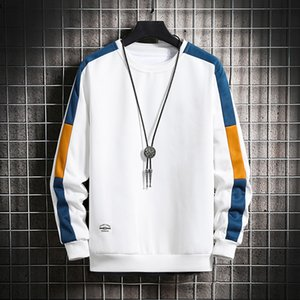 Casual Sweatshirts Men New Trend Harajuku Hoodies O-neck Long Sleeve Mens Solid Patchwork Sweatshirt Pullover Hip Hop Tops Y201123