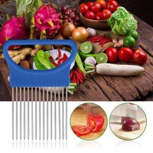 Leicht geschnittene Zwiebelhalter Gabel Edelstahl + Kunststoff Gemüse Slicer Tomatenschneider Metall Fleisch Nadel Gadgets Fleisch Frk 4 Farben BWF3324