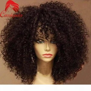 Unprocessed Mongilian Kinky Curly Full Lace Wigs with Bangs Glueless 180% Density Afro Kinky Full Lace Front Wigs For African American