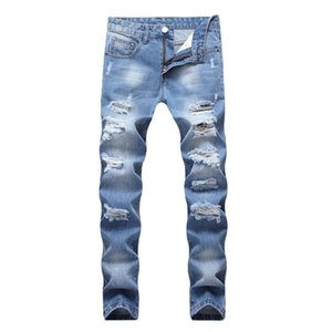Mens Straight Long Trousers Ripped Holes Design Male Blue Jeans Hommes Slim Denim Pants Fashion Streetwear Jeans