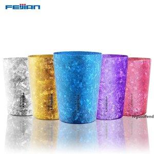 Feijian 400мл Titanium японской Изолированной Пивной кружки окисленной поверхность кристалла кофе Cola чай Сок чашка с двойной стенкой вакуумной кружка T200506