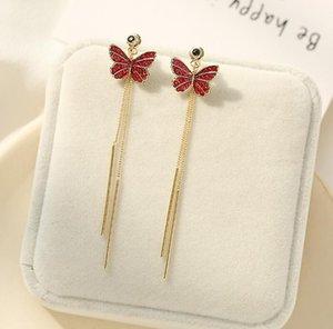 Korean new romantic s925 silver needle butterfly earrings jewelry women luxury 18k gold plated red green gray zircon tassel drop earrings