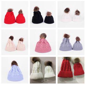Paprent-child Twist Pom Pom Beanies Crochet Winter Hat Women Kids Children Cuffed Skull Caps Knitted Tuque Ski Slouchy Headwear FWA2555