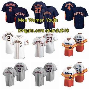HoustonAstrosJersey 27 Jose Altuve Jersey 2 Alex Bregman 4 George Springer 34 Ryan Stitch Baseball Jersey Hommes Femmes Jeunesse 1124