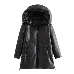 BBWM женщины зимняя мода густые теплые искусственные кожаные парки винтаж с капюшоном длинный рукав мягкая куртка женское шикарное пальто 201120