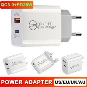 QC3.0 PD 20W Зарядное устройство адаптер USB 2 в 1 Быстрая зарядка мобильного телефона зарядное устройство PD зарядное устройство Быстрый заряд EU US UK PLUSH