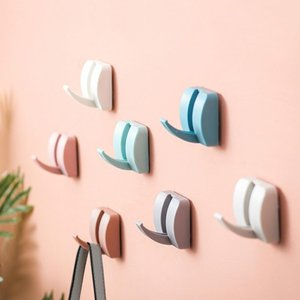New Creative Candy Color Hook hanger Strong Non-marking Hook Free Punching Free Nail Home Storage Organizer Hooks