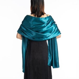 New Solid Color Satin Evening Dresses Party Shawl Scarf for Women wedding Dress Shawl Foulard Femme Bridal Boleros Shrugs Wraps1