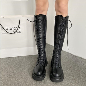 women boots winter snow booties black increase Long tube good quality womens Motorcycle boot leather shoes size 35-40 03