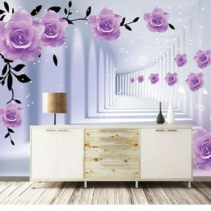 Custom Photo Mural Wallpaper Home Decor 3D Stereo Space Purple Flower Art Wall Painting Living Room TV Background Papier Peint