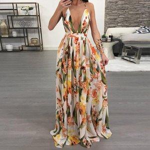 Women Dresses Summer Sexy Maxi Boho Style Print Party Dress Deep V Neck Backless Long Dress Vestidos
