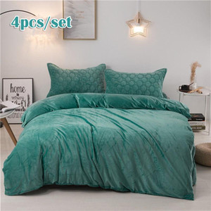 JUSTCHIC 4pcs set Nordic Crystal Velvet Bed Skirt Duvet Cover Pillow Cases Winter Bedding Set Solid Color Thickened Quilt Cover