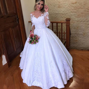 Custom Made Long Sleeves Lace Ball Gown Wedding Dresses 202021 with Appliques Jewel Neck Sweep Train Satin Wedding Bridal Gowns