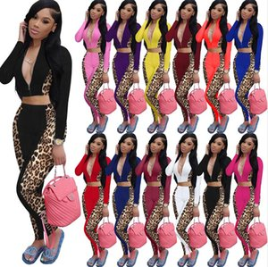 Womens Tracksuit Deep V Neck Outfit Leopard Patchwork Cropped Zip Jacket Zipper Hoodie Coat Crop Top and Pant Leggings Matching Suit E122401