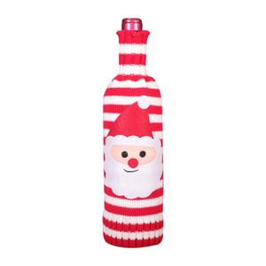 christmas knitting bottle cover santa snowman elk champagne wine bottle cover merry christmas knitted bottle sweater decor YYB2728
