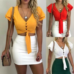 Ladies Summer Fashion Womens Ruffled Button Down T Shirt Top Casual Solid Color Lace Up Tee