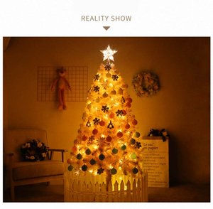 60 120cm DIY Christmas Tree With LED Light New Year Gifts Kids Toys Artificial Tree Wall Hanging Ornaments Christmas Home Decor