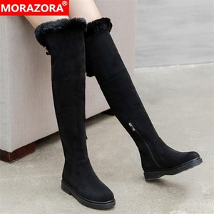 MORAZORA 2021 Big Size 33-43 Women Boots Comfortable Flock Winter Keep Warm Thick Fur Knee High Boots Square Heels Ladies Shoes