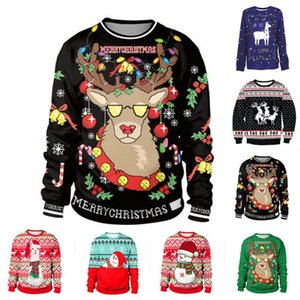 2020 Christmas Sweater snowman For gift Santa reindeer Pullover Womens Mens 3D and Sweaters Tops Autumn Winter Clothing